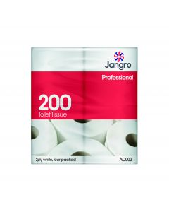 200 Sheet Toilet Roll, 4 Pack, 2 ply